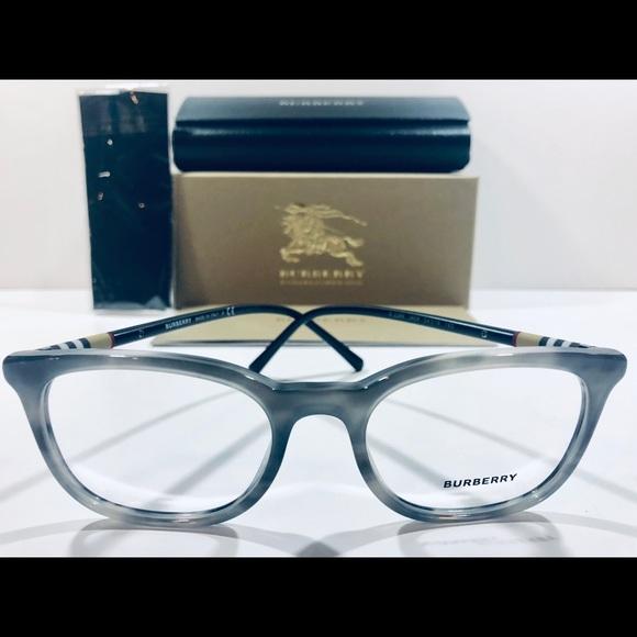 119b0a09d59a Burberry Men s Eyeglasses Striped Gray w  Black 54